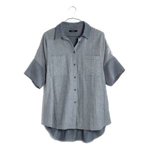 madewell chambray courier shirt in lilydale stripe